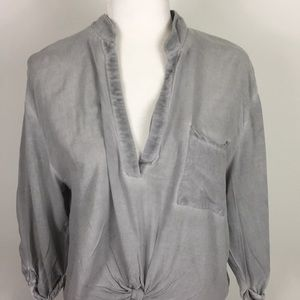 Mustard Seed Tops - Mustard Seed Grey Tie Front V Neck Blouse